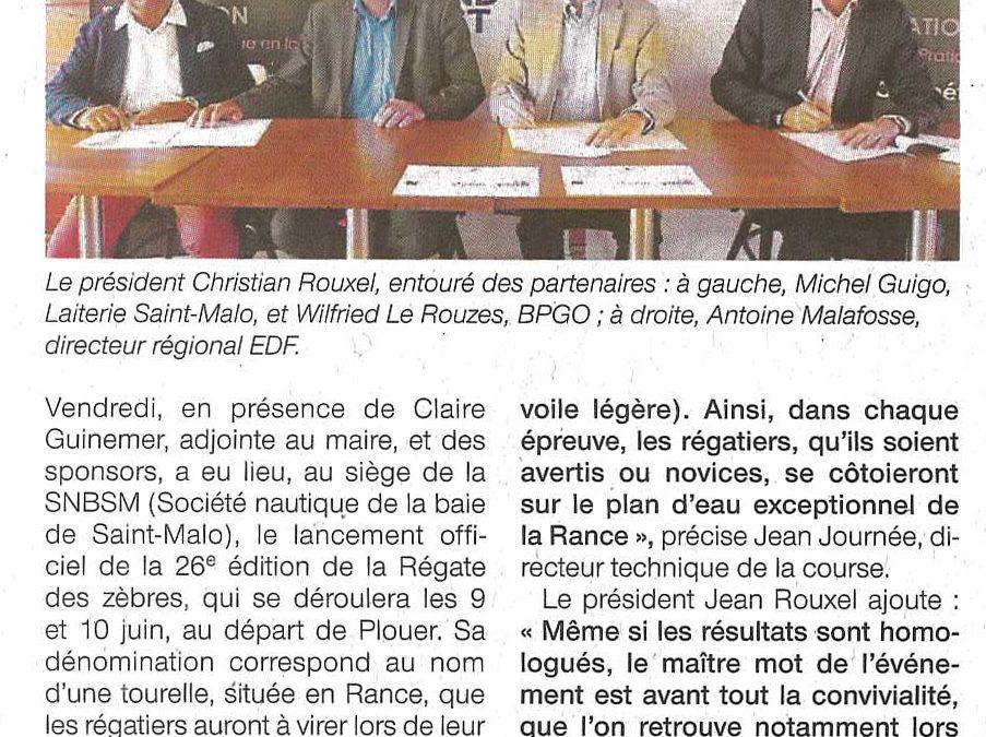 Article Ouest France – Régate des Zèbres 2018