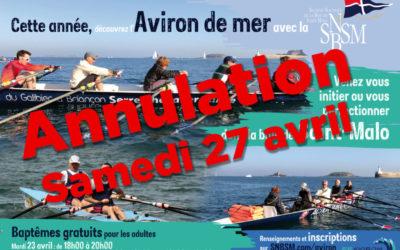 Annulation des baptêmes d'aviron du samedi 27 avril