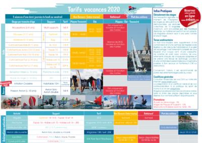 Tarifs et horaires des stages vacances 2020